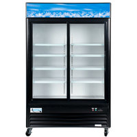 Avantco GDC-49-HC 53 inch Black Swing Glass Door Merchandiser Refrigerator with LED Lighting