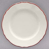 Homer Laughlin HLC544866 Styleline Maroon 9 inch Scalloped China Plate - 24/Case