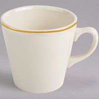 Homer Laughlin 127828 Styleline Gold 6.75 oz. Scalloped China Kent Cup - 36/Case