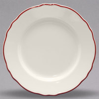 Homer Laughlin 546866 Styleline Maroon 9 3/4 inch Scalloped China Plate - 24/Case