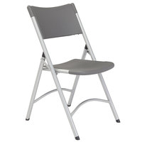National Public Seating 620 Silvertone Steel Folding Chair with Charcoal Slate Plastic Back and Seat