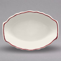 Homer Laughlin 526866 Styleline Maroon 11 3/4 inch x 8 5/8 inch Oval Scalloped China Platter - 12/Case
