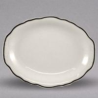 Homer Laughlin 525847 Styleline Black 9 7/8 inch x 7 5/8 inch Oval Scalloped China Platter - 24/Case