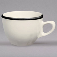 Homer Laughlin 509847 Styleline Black 7 oz. Scalloped China Princess Cup - 36/Case