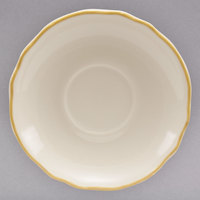 Homer Laughlin 281828 Styleline Gold 5 1/2 inch Scalloped China Ship Saucer - 36/Case