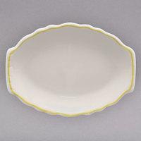 Homer Laughlin 527828 Styleline Gold 12 5/8 inch Oval Scalloped China Platter - 12/Case