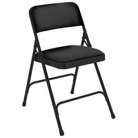 National Public Seating 2310 Black Metal Folding Chair with 1 1/4 inch Midnight Black Fabric Padded Seat