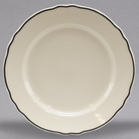 Homer Laughlin 542847 Styleline Black 7 1/4 inch Scalloped China Plate - 36/Case