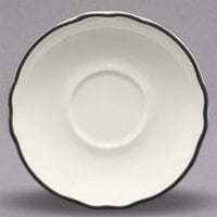 Homer Laughlin 580847 Styleline Black 5 5/8 inch Scalloped China Saucer - 36/Case