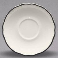 Homer Laughlin by Steelite International HLC580847 Styleline Black 5 5/8 inch Scalloped China Saucer - 36/Case