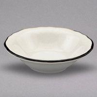 Homer Laughlin 529847 Styleline Black 3.75 oz. Scalloped China Princess Fruit Bowl - 36/Case