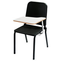 National Public Seating 8210/TA82L Black Melody Stack Chair With Left Tablet  Desk Arm