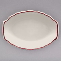 Homer Laughlin 527866 Styleline Maroon 12 5/8 inch Oval Scalloped China Platter - 12/Case