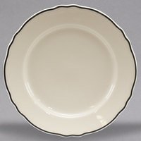 Homer Laughlin 546847 Styleline Black 9 3/4 inch Scalloped China Plate - 24/Case