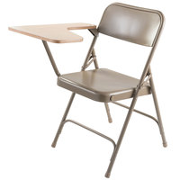 National Public Seating 5201R-MAPLE Beige Steel Premium Folding Chair with Right Maple Tablet Arm