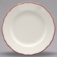 Homer Laughlin 548866 Styleline Maroon 10 5/8 inch Scalloped China Plate - 12/Case