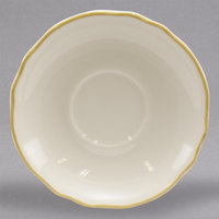Homer Laughlin 580828 Styleline Gold 5 5/8 inch Scalloped China Saucer - 36/Case