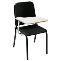 National Public Seating 8210/TA82R Black Melody Stack Chair with Right Tablet Desk Arm