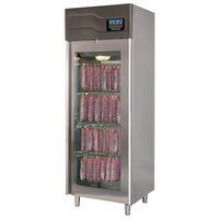 Stagionello 29 inch Glass Door Stainless Steel Meat Curing Cabinet - 220 lb. / 100 kg., 220V, 2376W