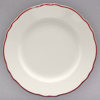 Homer Laughlin 543866 Styleline Maroon 8 1/4 inch Scalloped China Plate - 36/Case