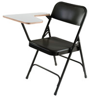 National Public Seating 5210R Black Steel Premium Folding Chair with Right Gray Tablet Arm