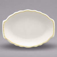 Homer Laughlin 523828 Styleline Gold 7 3/4 inch x 5 3/4 inch Oval Scalloped China Platter - 36/Case