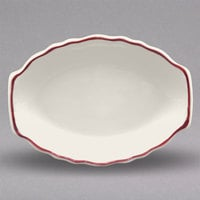 Homer Laughlin 525866 Styleline Maroon 9 7/8 inch x 7 5/8 inch Oval Scalloped China Platter - 24/Case