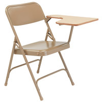 National Public Seating 5201L-MAPLE Beige Steel Premium Folding Chair with Left Maple Tablet Arm