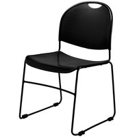 National Public Seating 850 Commercialine Black Plastic Stackable Chair with Black Steel Sled Base