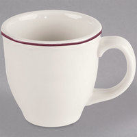 Homer Laughlin 1127866 Styleline Maroon 13.5 oz. Scalloped China Mug - 12/Case