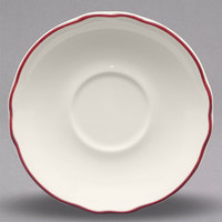 Homer Laughlin 580866 Styleline Maroon 5 5/8 inch Scalloped China Saucer - 36/Case