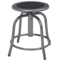 National Public Seating 6810-02 Gray 18 inch - 24 inch Adjustable Swivel Lab Stool with Black Steel Seat