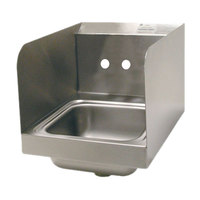 Advance Tabco 7-PS-23-ECSPNF 16 inch x 12 inch Wall Mounted Hand Sink with Side Splashes for 1 Faucet