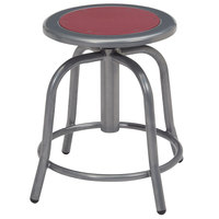 National Public Seating 6818-02 Gray 18 inch - 24 inch Adjustable Swivel Lab Stool with Burgundy Steel Seat