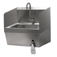 Advance Tabco 7-PS-59 17 1/4 inch x 15 1/4 inch Hand Sink with Side Splashes and Knee Operated Valve