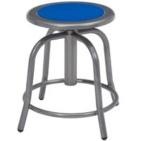 National Public Seating 6825-02 Gray 18 inch - 24 inch Adjustable Swivel Lab Stool with Persian Blue Steel Seat
