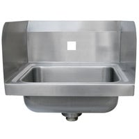 Advance Tabco 7-PS-71-EC-SPNF 17 inch x 15 1/4 inch Wall Mounted Hand Sink with Side Splashes for 1 Faucet