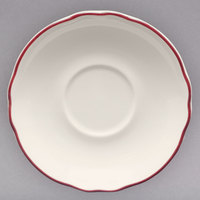 Homer Laughlin 579866 Styleline Maroon 4 3/4 inch Scalloped China A.D. Saucer - 36/Case