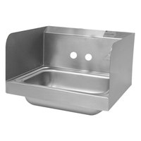 Advance Tabco 7-PS-EC-SPNF 17 inch x 15 1/4 inch Wall Mounted Hand Sink with Side Splashes for 1 Faucet
