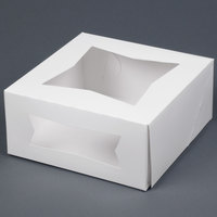 9 inch x 9 inch x 4 inch White Auto-Popup Window Cake / Bakery Box - 150 / Bundle