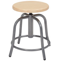 National Public Seating 6800W-02 Gray 19 inch - 25 inch Adjustable Swivel Lab Stool with Wooden Seat