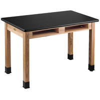 National Public Seating HSLT2448-BC 24 inch x 48 inch Science Lab Table with Built-In Book Compartments - 30 inch Height