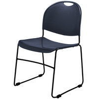 National Public Seating 855 Commercialine Navy Blue Plastic Stackable Chair with Black Steel Sled Base