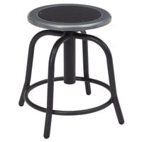 National Public Seating 6810-10 Black 18 inch - 24 inch Adjustable Swivel Lab Stool with Black Steel Seat