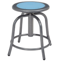 National Public Seating 6805-02 Gray 18 inch - 24 inch Adjustable Swivel Lab Stool with Blueberry Steel Seat