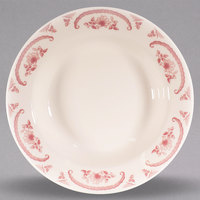 Homer Laughlin 2552 American Rose Red 6 oz. Ivory (American White) Rolled Edge China Rim Soup Bowl - 24/Case