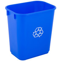 Lavex Janitorial 13 Qt. / 3 Gallon Blue Rectangular Recycling Wastebasket / Trash Can