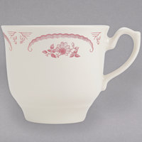 Homer Laughlin 1122 American Rose Red 7.75 oz. Ivory (American White) China Seville Cup - 36/Case