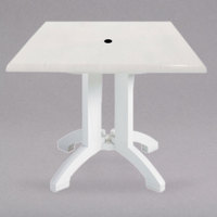 Grosfillex US240004 Atlanta 32 inch x 32 inch White Square Molded Melamine Outdoor Table with Umbrella Hole