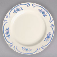 Homer Laughlin 2085035 American Rose Blue 11 1/8 inch Ivory (American White) Rolled Edge China Plate - 12/Case